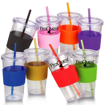 Пластиковый стакан Acrylic Promotional Tumbler Silicone Grip & Matching Straw