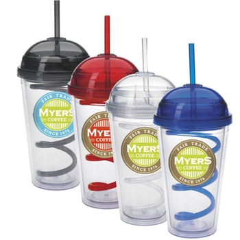 Пластиковый стакан Acrylic Promotional Tumbler w/ Dome Lid & Curly Straw